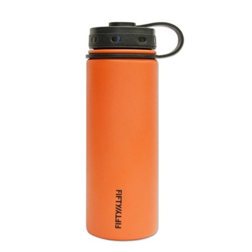 Water Lifeline Bottles - Lifeline 7504OR Orange Stainless Steel Wide Mouth Water Bottle - 18 oz. Capacity