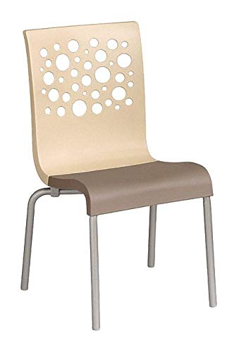 Resin Chair, Beige/Taupe, 21'' Width, 22'' Depth, 35-1/2'' Height