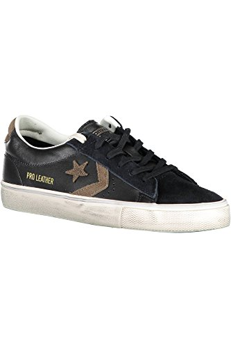 Converse Unisex Adults' Lifestyle Pro Leather Vulc Distressed Ox Low-Top Sneakers, Black (Black/Chocolate Chip 001), 7.5 UK