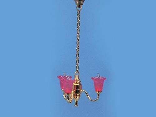 3 Arm Tulip - Dollhouse & Miniature Dolls' Houses Miniature 1:12 and 1:24 Scale 12 Volt 3 Arm Chandelier with Pink Tulip Shades Welcome to Minimum World Welcome to Minimum World