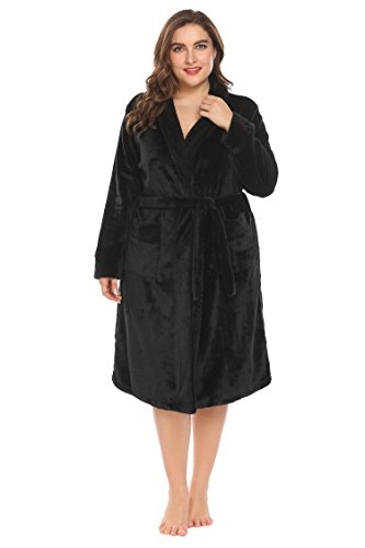 Blenko Womens Plus Size Plush Soft and Warm Fleece Bathrobe Kimono Spa Robe XL-5XL