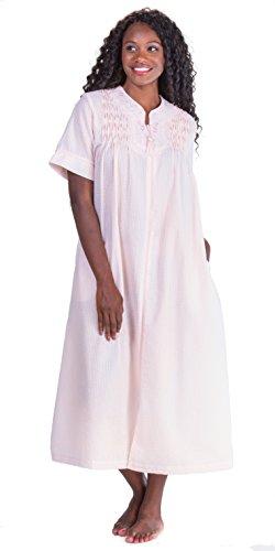 Miss Elaine Women's Seersucker Solid Long Zipper Robe, Peach, - Front Zip Elaine Miss