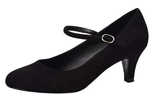 (Women's Classic Low Mid Heels Round Toe Vintage Retro Shoes Comfort Pumps Shoes Black Velvet Size US8.5 EU41)