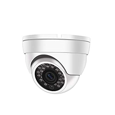 Dericam 1080P@30fps 1920TVL Full HD Dome Outdoor Security Camera, HDCVI/HDTVI/AHD 3-in-1 Surveillance Camera, IP66 Metal Housing, 24 LEDs/82ft Night Vision, 85°Viewing Angle, AC2MD2, White by Dericam