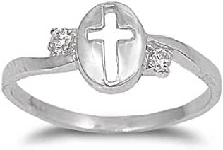 Cross Cubic Zirconia Ring Sterling Silver 925