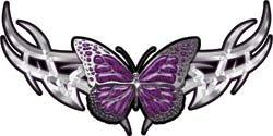 Tribal Butterfly Lady Biker Graphic in Purple - 3