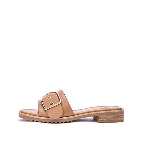 alla moda casual 39 bufalo tacco Tacchi DHG di tacco estivi a basso Sandali donna alti da Pantofole piatti basso Sandali pelle Sandali con wxqBzYX