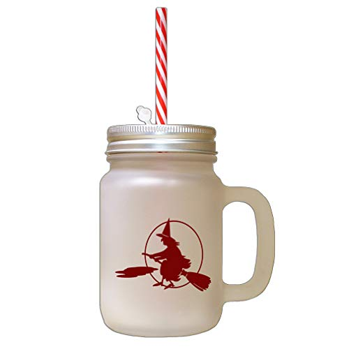 Maroon Full Moon Witch On A Broom Halloween Frosted Glass Mason Jar With Straw -