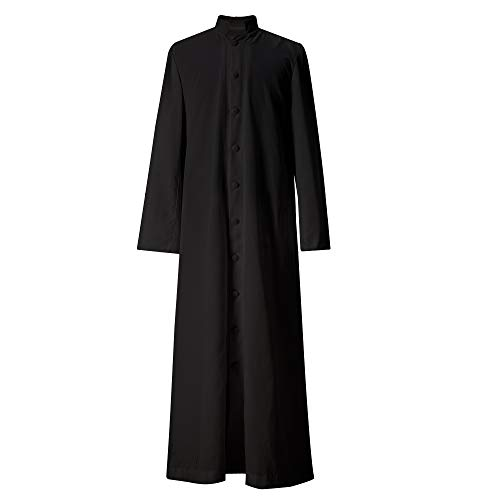 (GGS Unisex Roman Altar Cassock Single Breasted Clergy Pulpit Vestment Black 60FF ((6'3