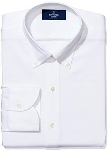 BUTTONED DOWN Men's Slim Fit Button-Collar Non-Iron Dress Shirt (No Pocket), White, 14.5