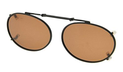 lente en de Marrón marco Eyekepper sol clip polarizado gafas 49x30mm Metal oval borde qF0XaO