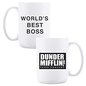 Coffee mug with DUNDER MIFFLIN, WORLD's BEST BOSS 15 oz Funny Ceramic Coffee/Tea/Cocoa Mug Surprise your boss/colleague/family/friend with this cute mug novelty gift