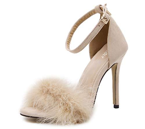 b298867bae8a MMJULY Women s Open Toe Ankle Strap Fluffy Feather Stiletto High Heel Dress  Sandal Beige US 5.5