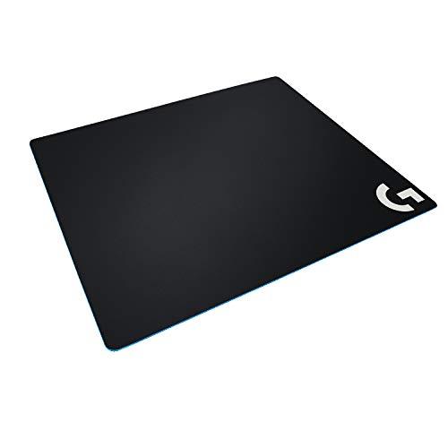 Logitech G640 Gaming-Mauspad aus Stoff, 460x400 mm, 3mm flaches Profil, Geringe Oberflächenreibung, Gleichmäßige Oberflächenstruktur, Gummiunterlage, Zusammenrollbar, Schwarz - Deutsche Verpackung