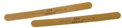 Precision Brand 76115 Brass Thickness Feeler Gage, 0.001'' Thickness, 1/2'' Width, 5'' Length (Pack of 10) by Precision Brand