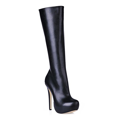 High boots female new products in the work of the Office of the high-heel round Ladies Boot Black 9JdLh