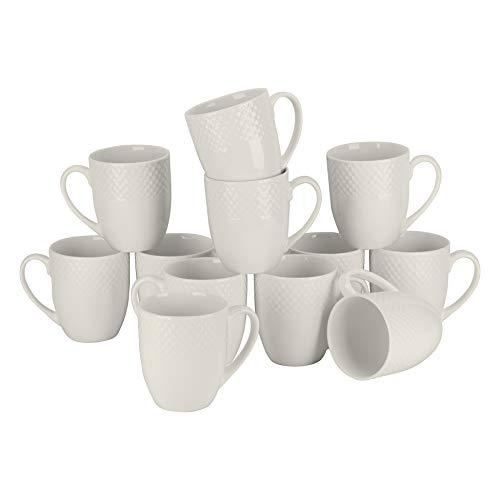 - 10 Strawberry Street CATERING-12WVMUG Basket Weave 14 Oz Catering set of 12 Mugs, Cream White