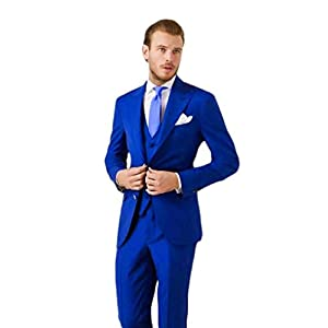 AK Beauty Men's 3 Piece Two Buttons Royal Blue Suit (Jacket+Pants+Vest) Wedding Suits for Men