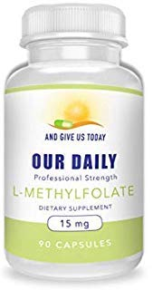 Our Daily Vites L-Methylfolate 15 mg / 15000 mcg Maximum Strength Active Folate, 5-MTHF, Filler Free, Gluten Free, NON-GMO, Vegetarian Capsules 90 Count (3 Month Supply)