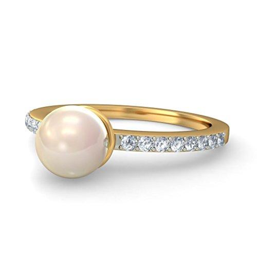 Or jaune 18K, 0.16carat Diamant Blanc (IJ | SI) Blanc cassé Perle et diamant Bague