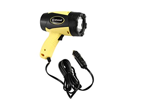 attwood 11794-7 Portable 5W LED Emergency Spotlight 12V Adapter Plug, Safety Yellow/Black (Cigarette Plug Spotlight)
