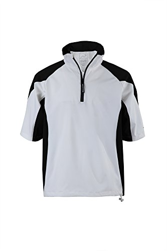 Woodworm Golf Mens Waterproof Rain Jacket Top – Short Sleeve Pullover Wind Top – European Fit Wht L