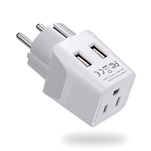 Ceptics Schuko, Germany, France, Spain Travel Adapter Plug with Dual USB - Usa Input Type E/F - Ultra Compact Perfect for Cell Phones, Laptop, Camera Chargers, iWatch, iPad, iPhone and More (CTU-9)