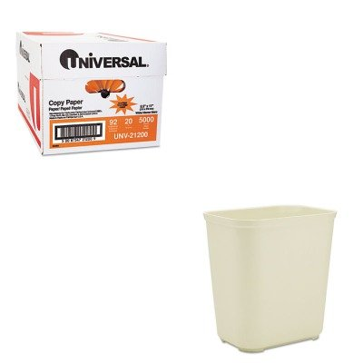 KITRCP254300BGUNV21200 - Value Kit - Rubbermaid-Beige Fiberglass Fire Resistant Wastebasket, 28 Quart (RCP254300BG) and Universal Copy Paper (UNV21200)
