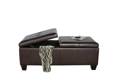 Best Selling Alfred Brown Leather Storage Ottoman by Best-selling