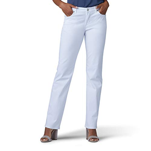 LEE Women's Relaxed Fit Straight Leg Jean, White, 6