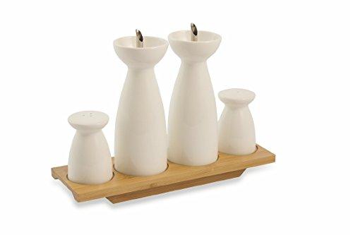 Villa d'Este Home Tivoli Horeca Set Condimento, Durable Porcelain/Bamboo, Bianco, 5 unità Galileo 2416541