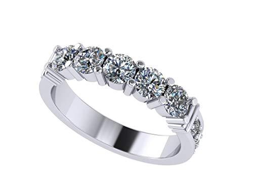 NANA Sterling Silver Shared Prongs w/side CZs 5 stone Swarovski Zirconia Simulated Diamond Band - Size 6