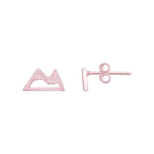Mountain Stud Earrings - 925 Sterling Silver with 18K Rose Gold Plating