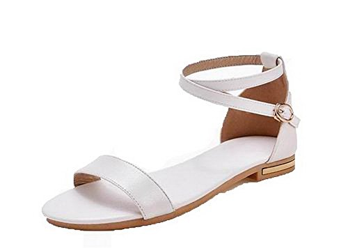 Sandals White Pu Low Open 39 Toe Solid Women's Heels WeenFashion w8qnA0F0