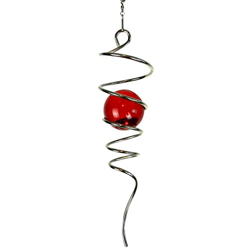 FONMY Gazing Ball Stainless Steel Spiral Tail-Decorative Wind Spinner, with Hanging Swivel Hook, Indoor Outdoor Decoration Silver Red -11