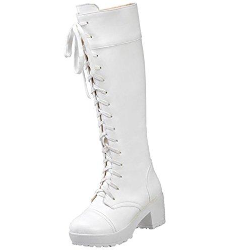 Partiss Damen Round Toe Lace up Zipper High-top PU Lolita Boots Lolita Stiefel Prinzessin Boots Schlupfstiefel Weiß