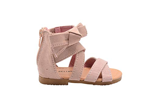 dELiAs Toddler Girls Fashion Sandals 7 M US Toddler Microsuede Zip Up Ankle Flats with Bow Blush