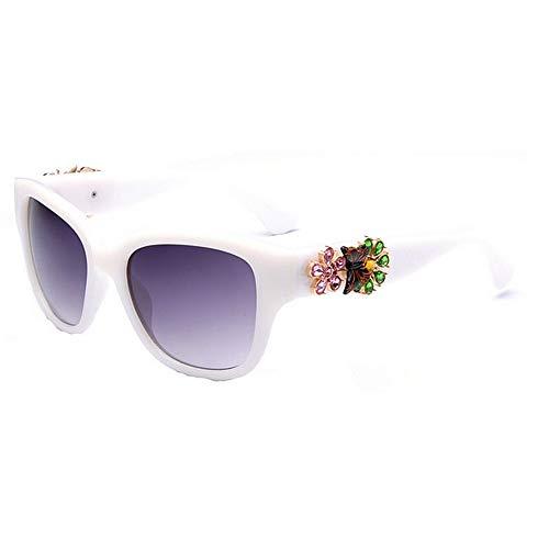 pour Crystal Conduire Nuances Blanc Full Protection Rose UV400 Soleil Frame d'été la Lady la Flower Designer KOMEISHO Brillants Couleur Lunettes Vacances nouveauté Plage Vintage de q8anwZ