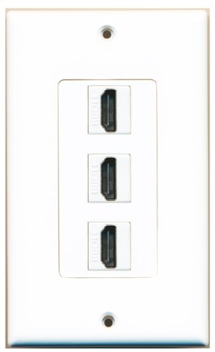 RiteAV - 3 Port HDMI 2.0 Decorative Wall Plate (White) ()