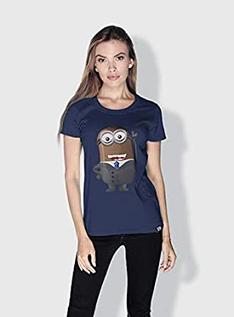 Creo Barak Obama Minions Round Neck T-Shirt For Women - Navy, M