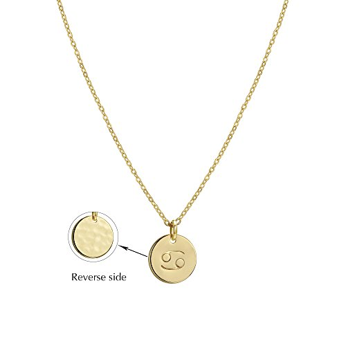Befettly Constellation Necklace Pendant 14K Gold-Plated Hammered Round Disc Engraved Zodiac Sign Pendant 17.5'' Adjustable Dainty Necklace NK-Cancer