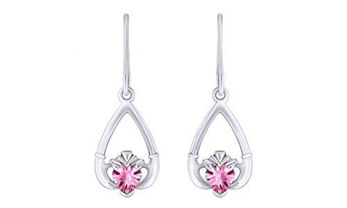 14k Gold Claddagh Earrings (Simulated Pink Tourmaline CZ Claddagh Drop Earrings in 14k White Gold Over Sterling Silver)