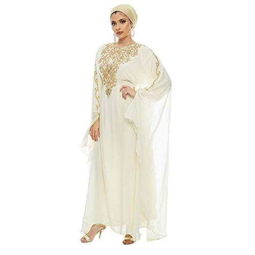 Lanya Kaftan for Women-Long Sleeve Maxi Dress, Gown Formal Lounge Wear (Ivory) (Best Time For Nikah)