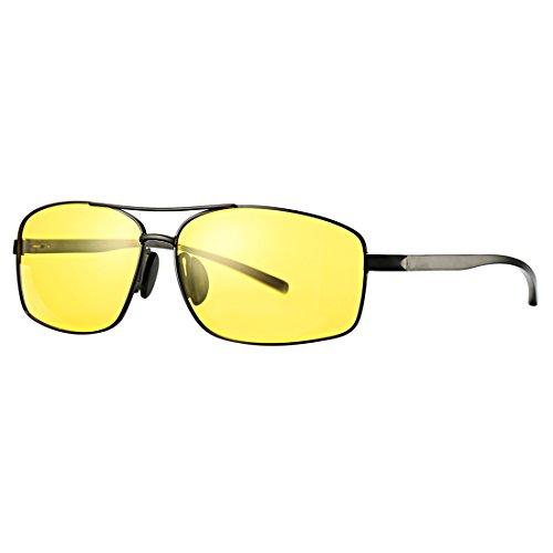 COASION HD Polarized Night Vision Driving Glasses Large Metal Frame Yellow Lens Sunglasses Anti Glare Eyewear for Men Women - Metal Sunglasses At Night