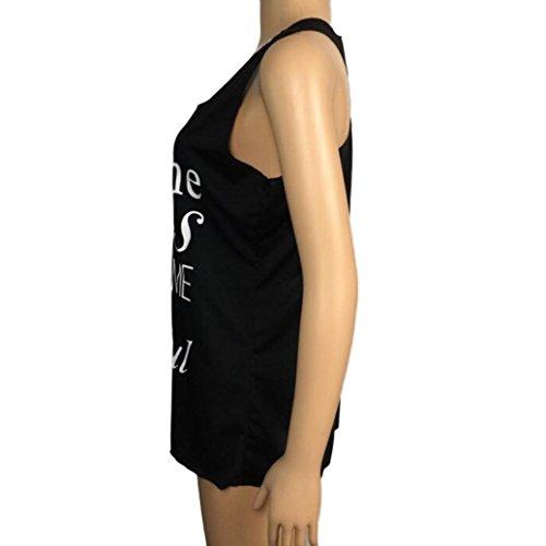 Winwintom Mujeres carta imprimir Sleeveless Tank Crop tops chaleco blusa camiseta Negro