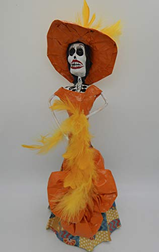 COLOR Y TRADICIÓN Mexican Catrina Doll Day of Dead Skeleton Paper Mache Dia de Los Muertos Skull Folk Art Halloween Decoration Fan # 1587 -
