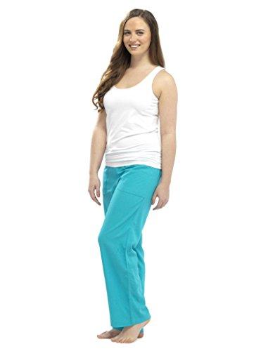 Mujer Verano Pantalones De Cintura Elástica Pantalones De Lino turquesa
