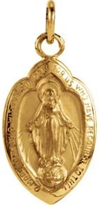 14k Yellow Gold Badge-Shaped Miraculous Medal