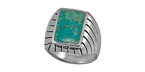 Sterling Silver 10x15mm Genuine Turquoise Men's Ring (Size 12)
