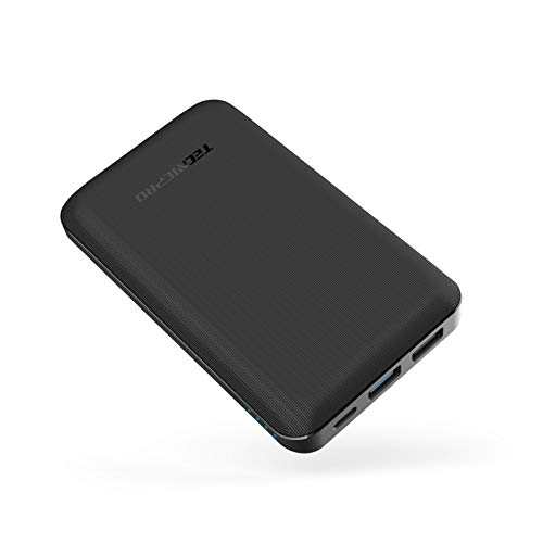 Portable Charger Tecnicpro P10 12000mAh Ultra Slim 18W Quick Charge Power Bank PD 18W & QC 3.0 18W Input &Output Compatible with Android Galaxy S9 S8 S7 iPhone iPad Nintendo Switch More -Black